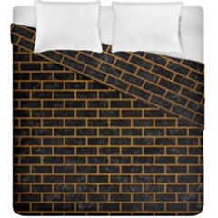Brick1 Black Marble & Yellow Grunge (r) Duvet Cover Double Side (king Size) by trendistuff