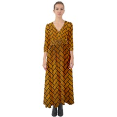Brick2 Black Marble & Yellow Grunge Button Up Boho Maxi Dress