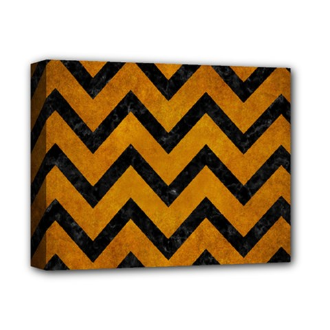 Chevron9 Black Marble & Yellow Grunge Deluxe Canvas 14  X 11  by trendistuff