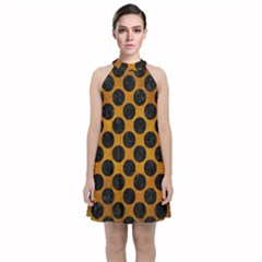 Circles2 Black Marble & Yellow Grunge Velvet Halter Neckline Dress