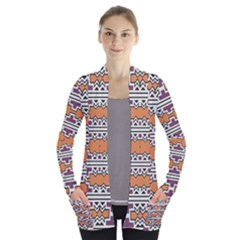 Purple And Brown Shapes                            Women s Open Front Pockets Cardigan