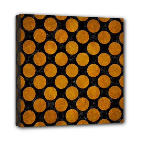 Circles2 Black Marble & Yellow Grunge (r) Mini Canvas 8  X 8  by trendistuff