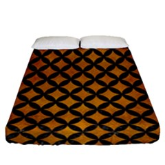 Circles3 Black Marble & Yellow Grunge Fitted Sheet (queen Size) by trendistuff