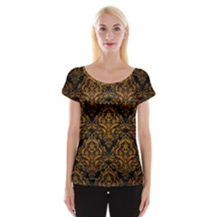 Damask1 Black Marble & Yellow Grunge (r) Cap Sleeve Tops