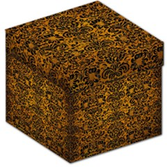 Damask2 Black Marble & Yellow Grunge Storage Stool 12   by trendistuff