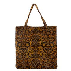 Damask2 Black Marble & Yellow Grunge Grocery Tote Bag by trendistuff