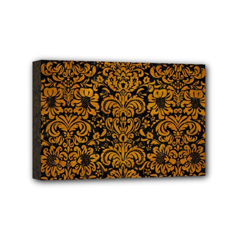 Damask2 Black Marble & Yellow Grunge (r) Mini Canvas 6  X 4  by trendistuff
