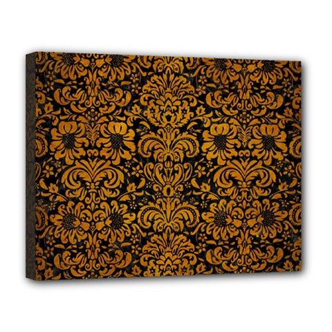 Damask2 Black Marble & Yellow Grunge (r) Canvas 14  X 11