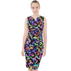 Colorful Paint Strokes On A Black Background                                  Midi Bodycon Dress