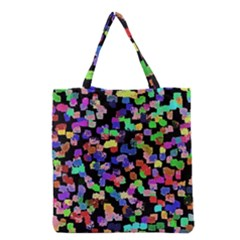 Colorful Paint Strokes On A Black Background                                Grocery Tote Bag by LalyLauraFLM