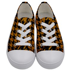 Houndstooth1 Black Marble & Yellow Grunge Kids  Low Top Canvas Sneakers