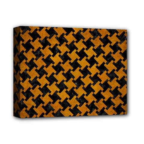 Houndstooth2 Black Marble & Yellow Grunge Deluxe Canvas 14  X 11  by trendistuff