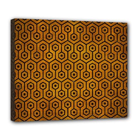 Hexagon1 Black Marble & Yellow Grunge Deluxe Canvas 24  X 20   by trendistuff