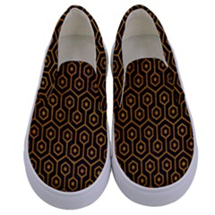 Hexagon1 Black Marble & Yellow Grunge (r) Kids  Canvas Slip Ons