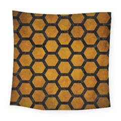 Hexagon2 Black Marble & Yellow Grunge Square Tapestry (large) by trendistuff
