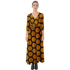 Hexagon2 Black Marble & Yellow Grunge Button Up Boho Maxi Dress