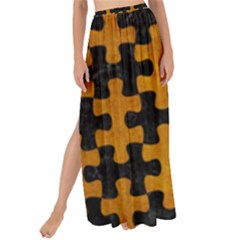 Puzzle1 Black Marble & Yellow Grunge Maxi Chiffon Tie Up Sarong by trendistuff