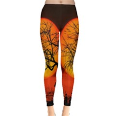 Helloween Midnight Graveyard Silhouette Leggings  by Mariart