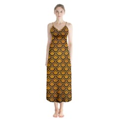 Scales2 Black Marble & Yellow Grunge Button Up Chiffon Maxi Dress