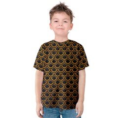 Scales2 Black Marble & Yellow Grunge (r) Kids  Cotton Tee