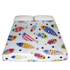Love Fish Seaworld Swim Blue White Sea Water Cartoons Rainbow Fitted Sheet (california King Size) by Mariart