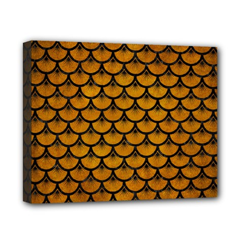 Scales3 Black Marble & Yellow Grunge Canvas 10  X 8  by trendistuff