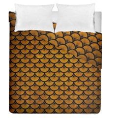 Scales3 Black Marble & Yellow Grunge Duvet Cover Double Side (queen Size) by trendistuff