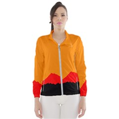Mountains Natural Orange Red Black Wind Breaker (women) by Mariart