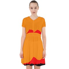 Mountains Natural Orange Red Black Adorable In Chiffon Dress by Mariart