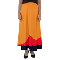 Mountains Natural Orange Red Black Flared Maxi Skirt by Mariart