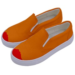 Mountains Natural Orange Red Black Kids  Canvas Slip Ons by Mariart