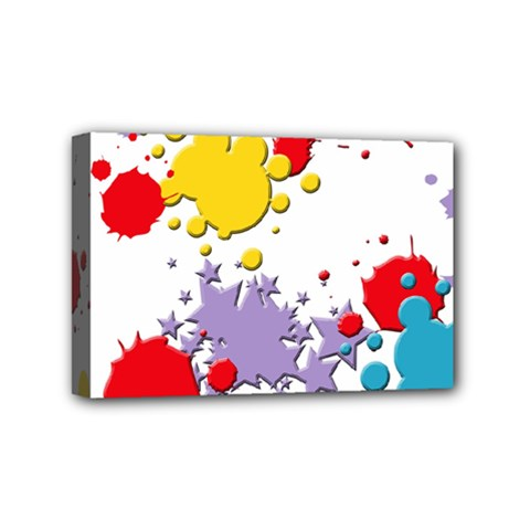 Paint Splash Rainbow Star Mini Canvas 6  X 4