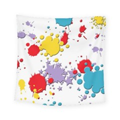 Paint Splash Rainbow Star Square Tapestry (small) by Mariart