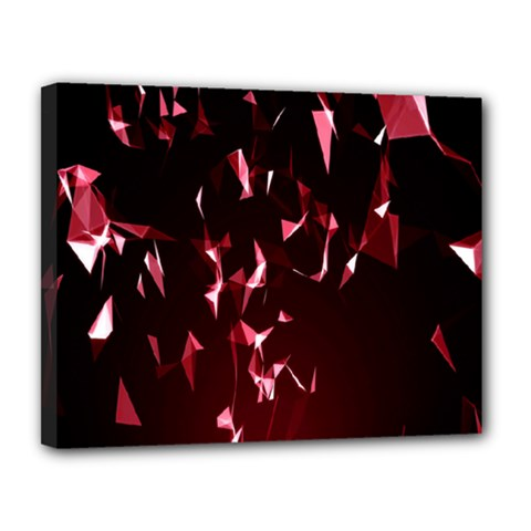 Lying Red Triangle Particles Dark Motion Canvas 14  X 11  by Mariart