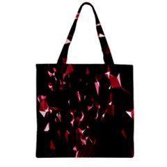 Lying Red Triangle Particles Dark Motion Zipper Grocery Tote Bag by Mariart