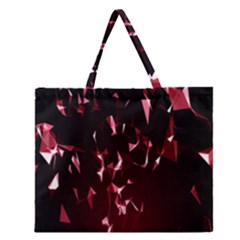 Lying Red Triangle Particles Dark Motion Zipper Large Tote Bag by Mariart