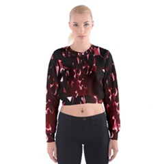 Lying Red Triangle Particles Dark Motion Cropped Sweatshirt by Mariart