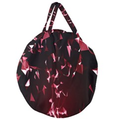 Lying Red Triangle Particles Dark Motion Giant Round Zipper Tote by Mariart