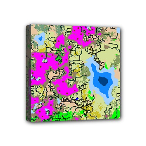 Painting Map Pink Green Blue Street Mini Canvas 4  X 4  by Mariart