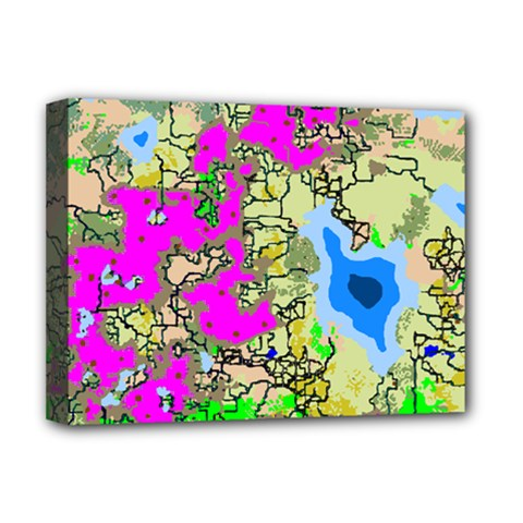 Painting Map Pink Green Blue Street Deluxe Canvas 16  X 12   by Mariart