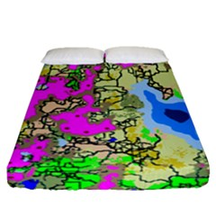 Painting Map Pink Green Blue Street Fitted Sheet (queen Size) by Mariart
