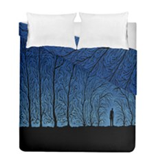 Forest Tree Night Blue Black Man Duvet Cover Double Side (full/ Double Size) by Mariart