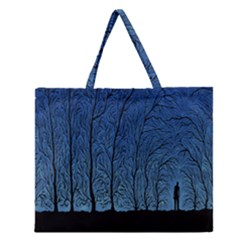Forest Tree Night Blue Black Man Zipper Large Tote Bag by Mariart