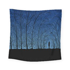 Forest Tree Night Blue Black Man Square Tapestry (small) by Mariart