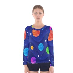 Planet Space Moon Galaxy Sky Blue Polka Women s Long Sleeve Tee by Mariart