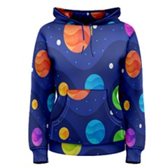Planet Space Moon Galaxy Sky Blue Polka Women s Pullover Hoodie