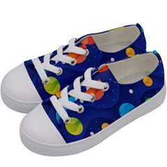Planet Space Moon Galaxy Sky Blue Polka Kids  Low Top Canvas Sneakers by Mariart
