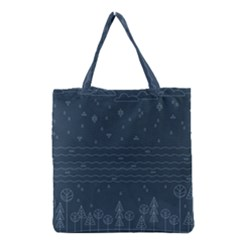 Rain Hill Tree Waves Sky Water Grocery Tote Bag
