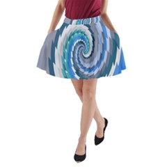 Psycho Hole Chevron Wave Seamless A Line Pocket Skirt by Mariart