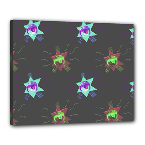 Random Doodle Pattern Star Canvas 20  X 16  by Mariart